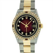 Rolex Mens 18KT Two Tone 1.00ctw Ruby and Diamond DateJust Wristwatch