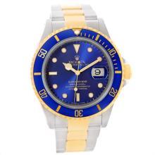 Rolex Submariner Steel Blue Dial 18K Yellow Gold Mens Watch