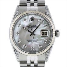 Rolex Mens Stainless Steel 1.00ctw Diamond Datejust Wristwatch