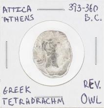 393-360 BC Attica Athens Greek Tetradrachm Owl Coin