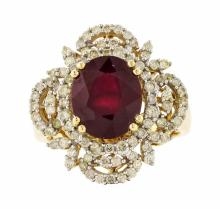 14KT Yellow Gold 5.00ct Ruby and Diamond Ring