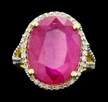 14KT Yellow Gold 16.29ct Ruby and Diamond Ring