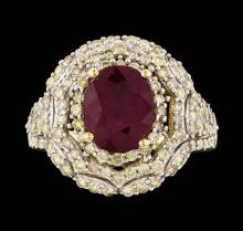 14KT Yellow Gold 3.72ct Ruby and Diamond Ring