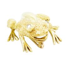 18KT Yellow Gold 0.08 ctw Diamond Frog Pin