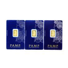 Set of (3) 2.5 Gram Swiss Made PAMP Gold Ingot Cards
