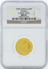 1993 Large Date China 25 Yuan Gold Panda Coin NGC MS67