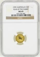 1999 Australia $5 Year of the Rabbit Gold Coin NGC MS69