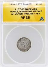 1157-1276 Denier France Bishops of Valence Coin ANACS VF35