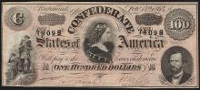 1864 $100 Confederate States of America Note