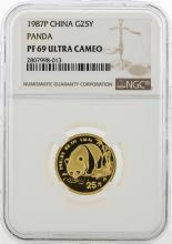 1987P China 25 Yuan Panda Gold Coin NGC PF69 Ultra Cameo