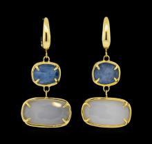 14KT Yellow Gold Ladies Gemstone Dangle Earrings