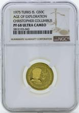 1975 Turks & Caicos 50 Crowns Proof Gold Coin NGC PF68 Ultra Cameo