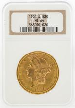 1904-S $20 Liberty Head Double Eagle Gold Coin NGC MS64