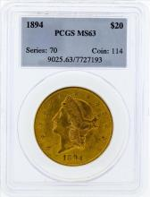 1894 $20 Liberty Head Double Eagle Gold Coin PCGS MS63