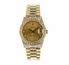 18K Yellow Gold Mid-Size Rolex Datejust Wristwatch with Diamonds