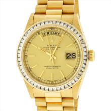 Rolex Mens President 18K Yellow Gold 2.75ctw Diamond Day Date Wristwatch