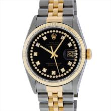 Rolex Mens Two Tone 14KT Yellow Gold Diamond Datejust Wristwatch