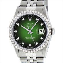 Rolex Stainless Steel 1.40ctw Diamond Datejust Mens Wristwatch