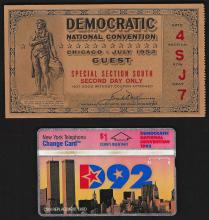 July 1952 Democratic National Convention Ticket and Calling Card