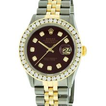 Rolex Mens Two Tone 14KT Yellow Gold 3.20ctw Diamond Datejust Wristwatch