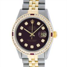 Rolex Mens Two Tone 14KT Yellow Gold Ruby and 1.50ctw Diamond Datejust Wristwatc