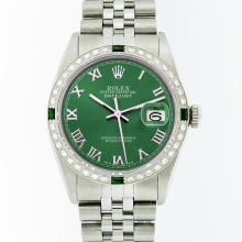 Rolex Mens Stainless Steel Emerald and Diamond Datejust Wristwatch