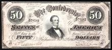1864 $50 The Confederate States of America Note