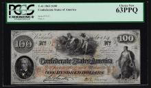 1862 $100 Confederate States of America Note PCGS Choice New 63PPQ