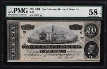 1864 $20 Confederate States of America Note PMG Choice About Uncirculated 58EPQ