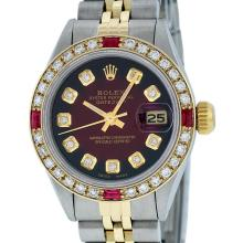 Rolex 14KT Two Tone Gold 0.70ctw Ruby and Diamond Datejust Ladies Wristwatch
