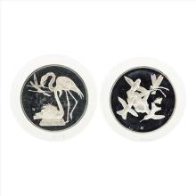 Lot of (2) Franklin Mint Great Flamingo and Ruby-Throated Hummingbird Art Medals