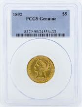 1892 $5 Liberty Head Half Eagle Gold Coin PCGS Genuine