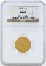 1892-S $5 Liberty Head Half Eagle Gold Coin NGC MS62