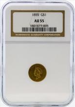 1855 $1 Indian Princess Head Gold Coin NGC AU55
