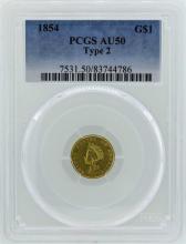 1854 $1 Indian Princess Head Gold Dollar Coin Type 2 PCGS AU50