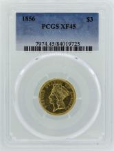 1856 $3 Indian Princess Head Gold Coin PCGS XF45