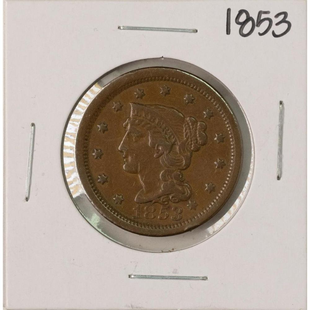 1853 Braided Hair Large Cent Coin