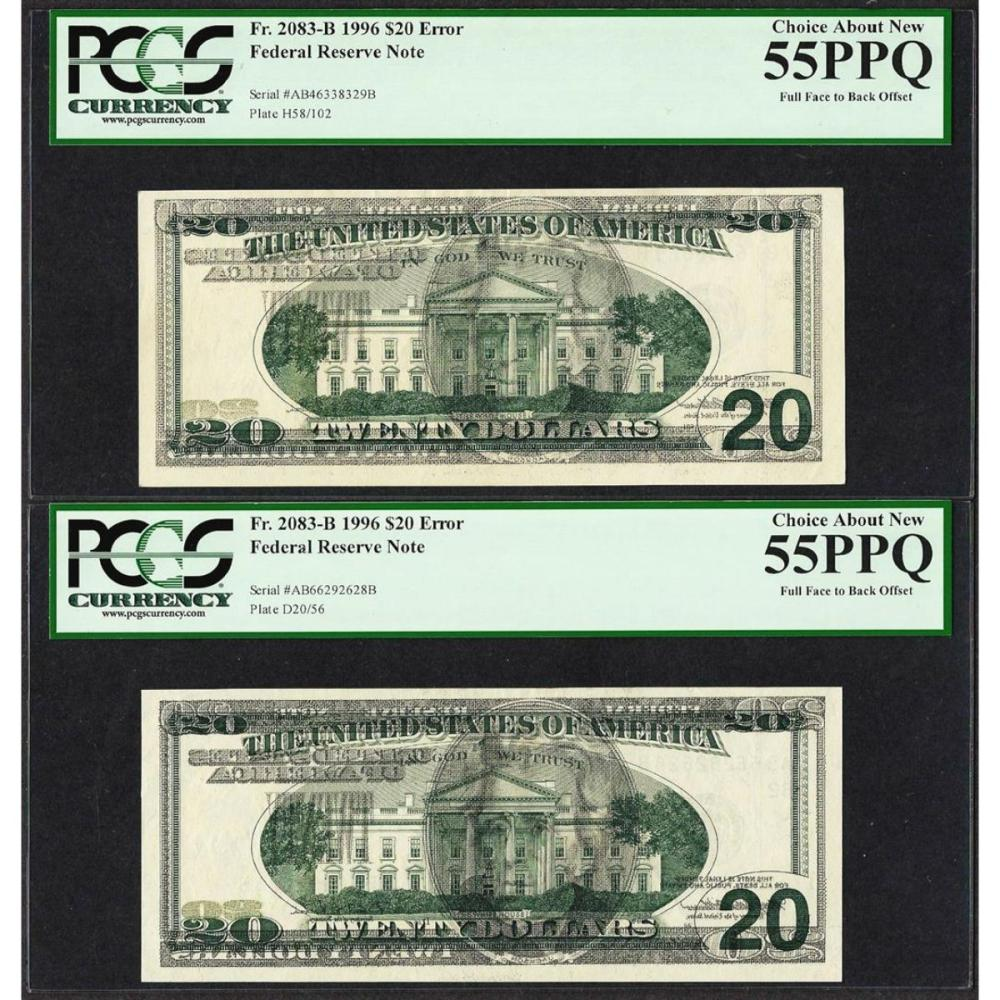 (2) Consec. 1996 $20 Federal Reserve Offset ERROR Notes PCGS Choice About New 55