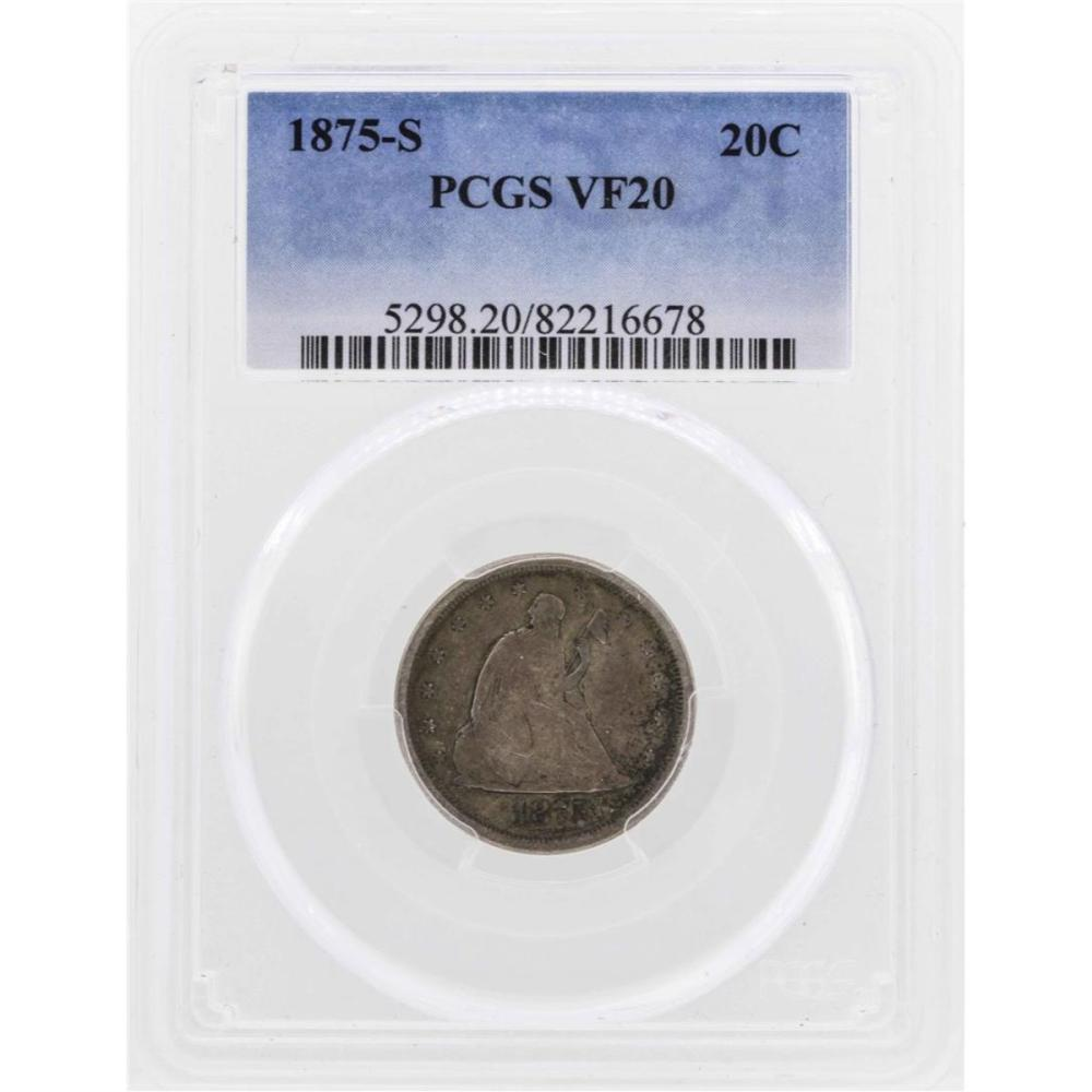1875-S Twenty Cent Piece Coin PCGS VF20