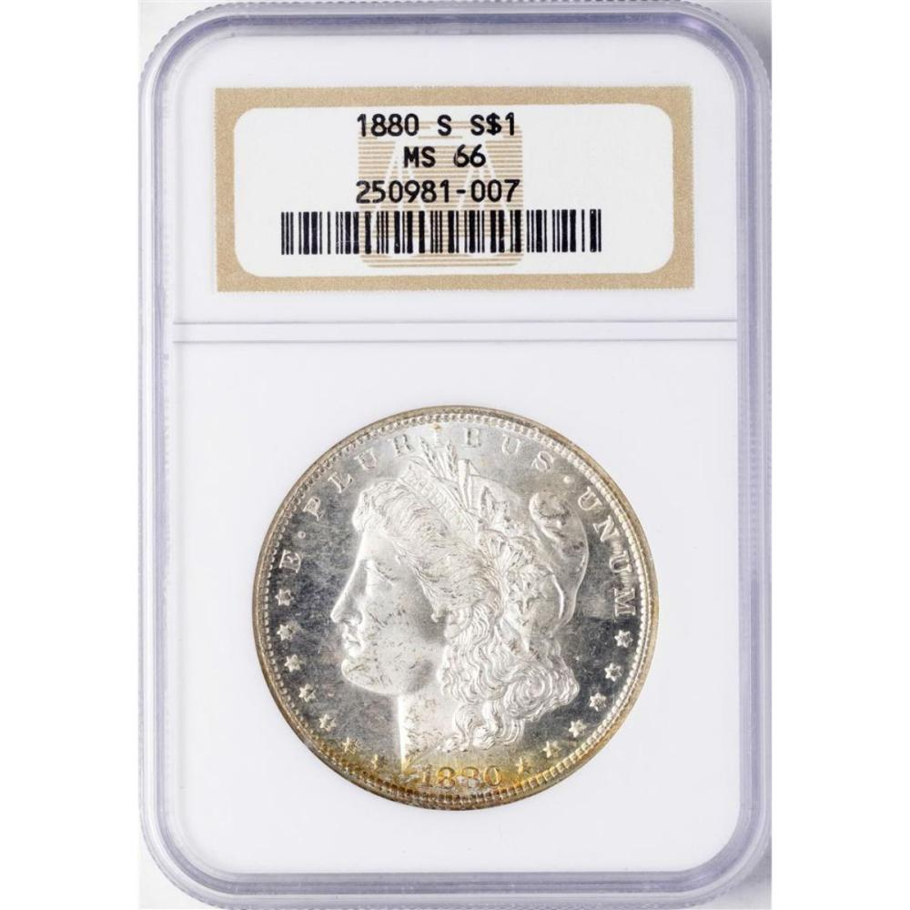 1880-S $1 Morgan Silver Dollar Coin NGC MS66 AMAZING TONING