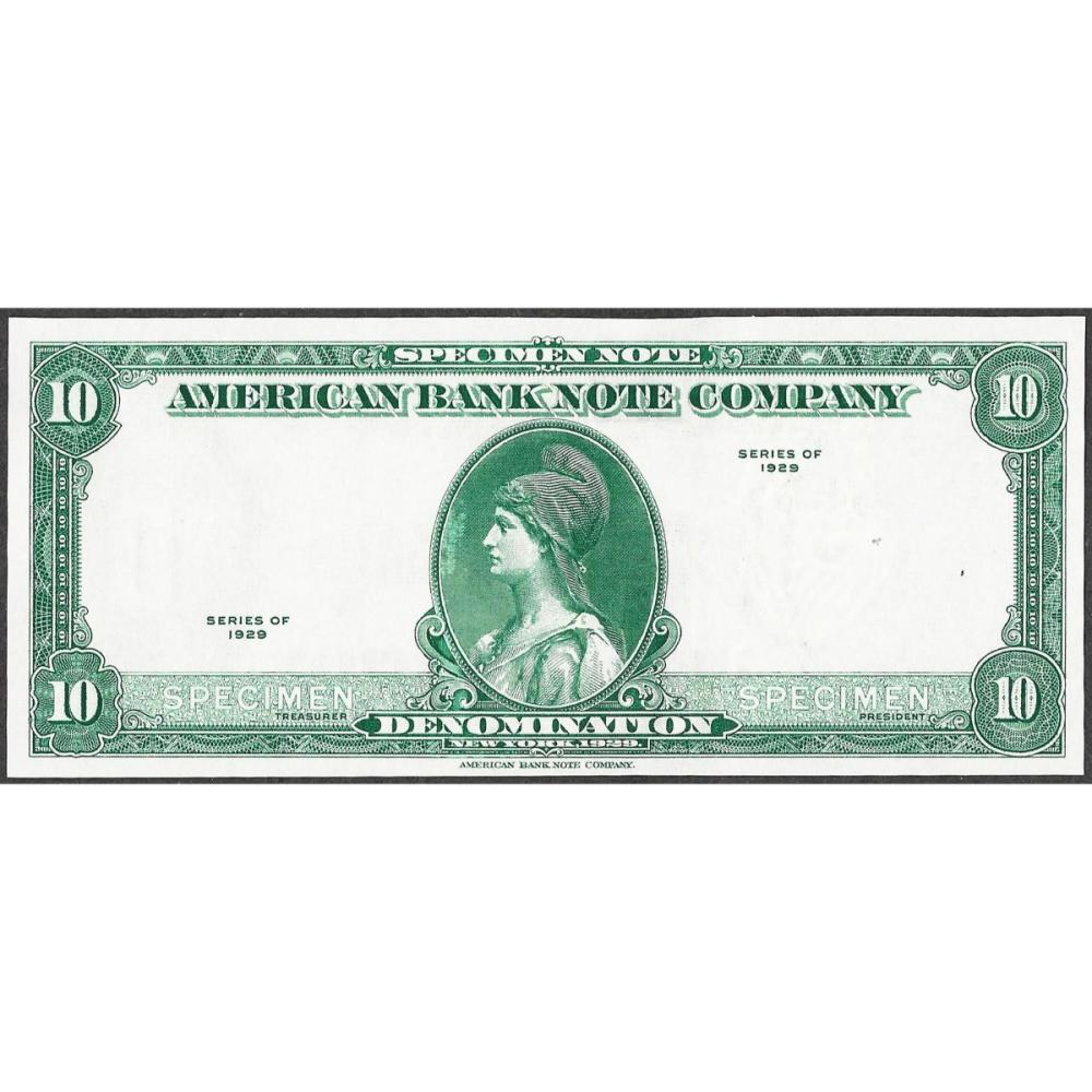1929 Ten Unit American Bank Note Test Note