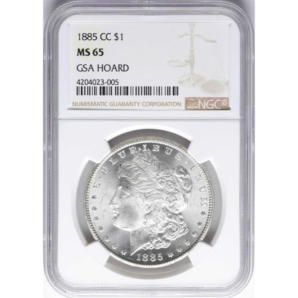 1885-CC $1 Morgan Silver Dollar Coin NGC MS65 GSA Hoard