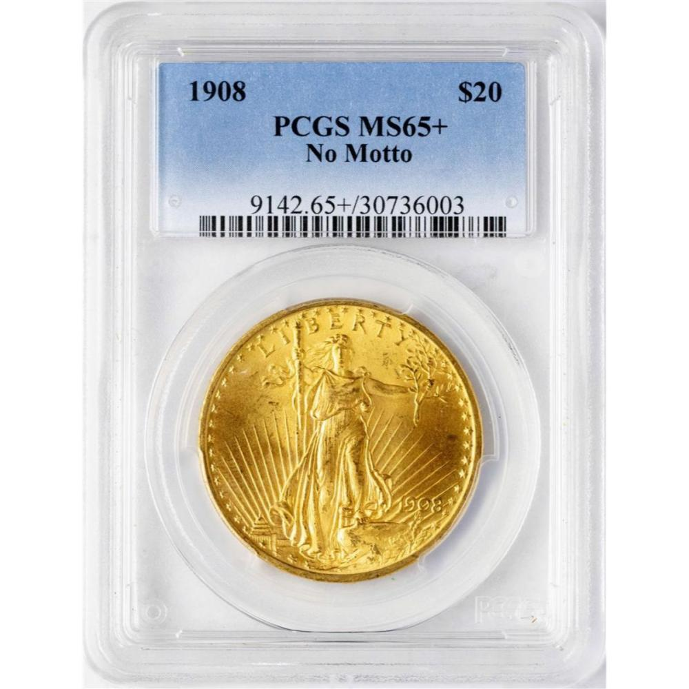1908 No Motto $20 St. Gaudens Double Eagle Gold Coin PCGS MS65+