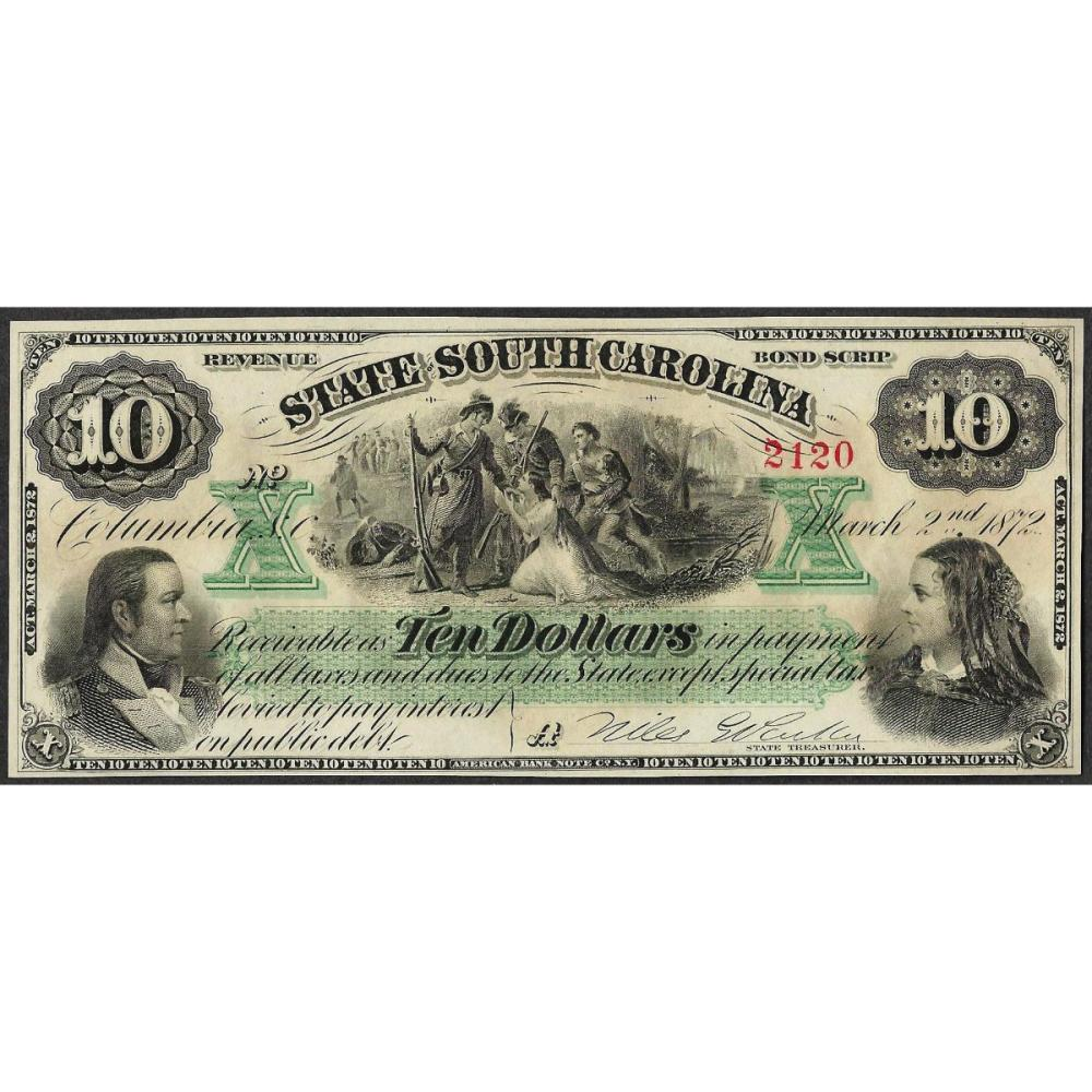 1872 $10 State of South Carolina Obsolete Note