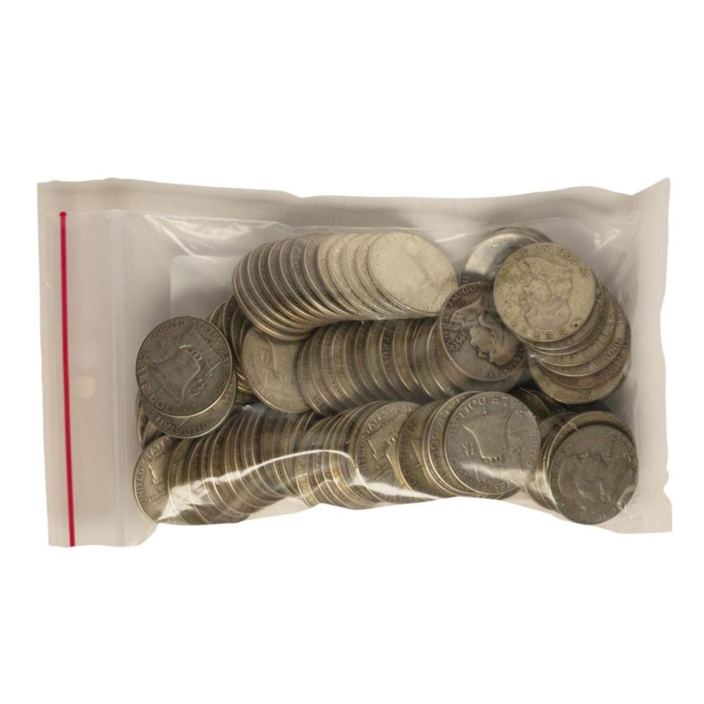 Bag of (100) Silver Franklin Half Dollar Coins - $50 Face Value