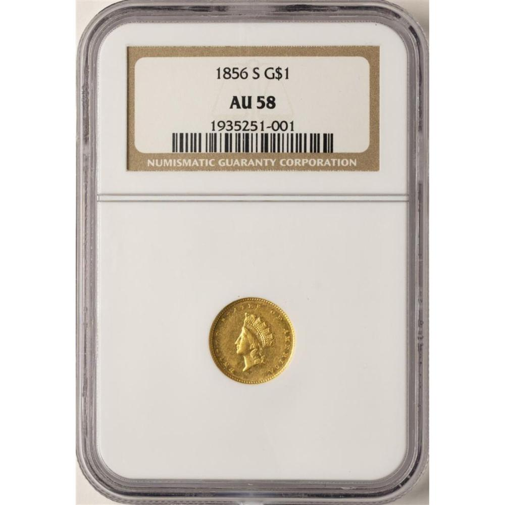 1856-S $1 Indian Princess Head Gold Dollar Coin NGC AU58