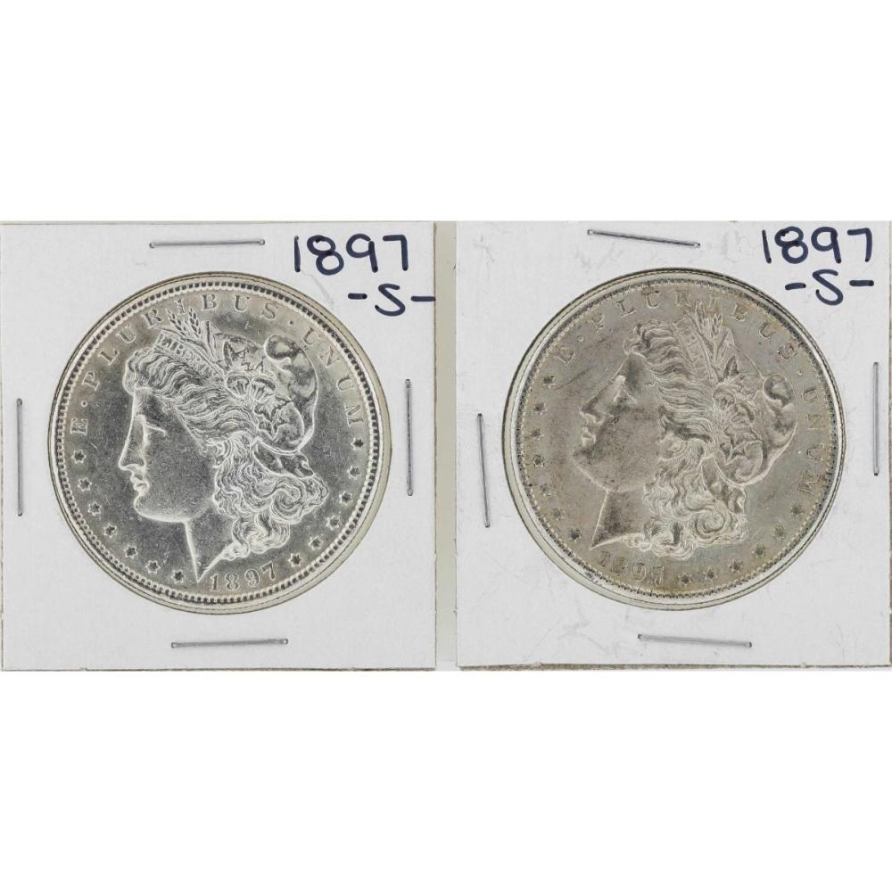 Lot of (2) 1897-S $1 Morgan Silver Dollar Coins