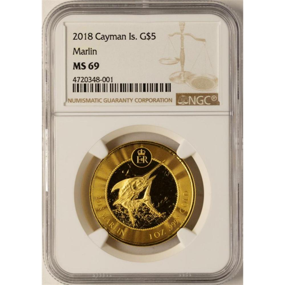 2018 Cayman Island $5 Marlin Gold Coin NGC MS69