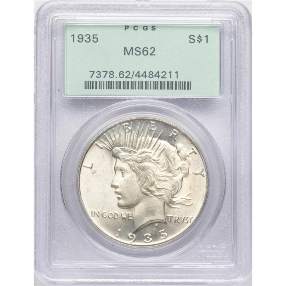 1935 $1 Peace Silver Dollar Coin PCGS MS62