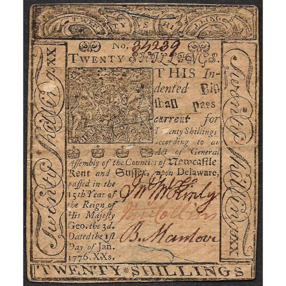 January 3, 1776 Delaware 20 Shillings Colonial Currency Note
